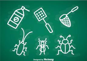 Conjunto de ícones de doddle de controle de pragas vetor