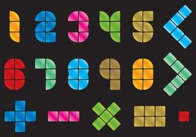 Números e símbolos do mosaico vetor