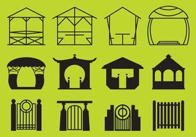 Gazebo de parque e vetores de estruturas