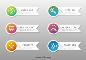 Botões do vetor de compras on-line