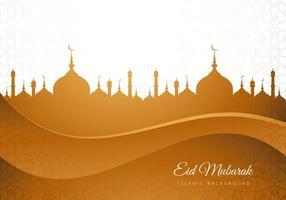 eid mubarak mesquita islâmica marrom silhueta fundo vetor
