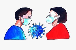 homem e mulher usando máscara facial vetor