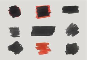 Formas de pincel de vetores preto e vermelho grátis