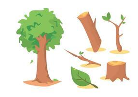Conjunto de vetores de troncos de madeira