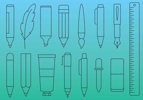 Ícones de linha de canetas e ferramentas