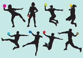 Silhuetas de handball vetor