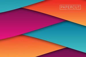 design de corte de papel de ângulo colorido em camadas vetor