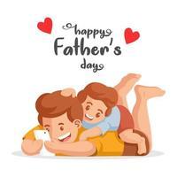 pai e filho assistindo vídeo no telefone vetor