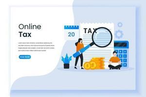 página de destino para pagamento e inspeção on-line de impostos vetor