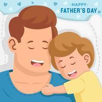 pai e filho dormindo juntos vetor