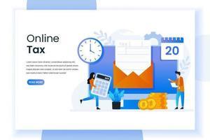 página inicial de imposto on-line com formulário em envelope vetor
