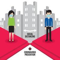 distanciamento social de homem e mulher na cidade vetor
