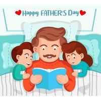 pai lendo um livro para crianças na cama vetor