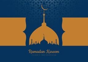 cartão do Ramadã com silhuetas de mesquita azul e ouro