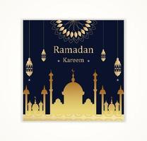 silhueta de mesquita de ouro e lanterna ramadan kareem cartão vetor