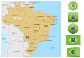 Mapa e Bandeiras do Brasil vetor