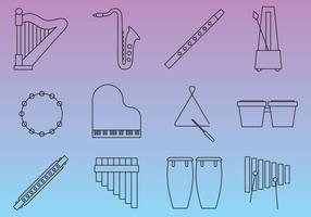 Instrumentos de música de linha fina vetor