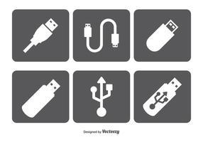Conjunto de ícones vetoriais USB configurados