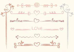 Separadores de amor desenhados a mão vetor