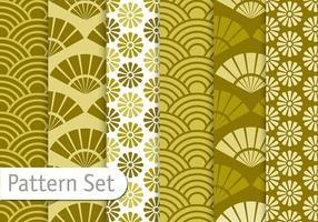 Conjunto de padrões de verde azeitona vetor