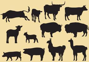 Vetores da silhueta do gado