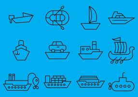Ícones dos navios vetores