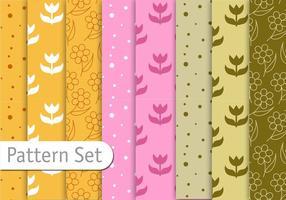 Conjunto de padrões decorativos florais vetor