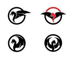 conjunto de logotipo cabeça dragão redondo vetor