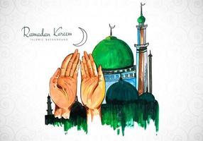 design de ramadan kareem com mãos a rezar vetor