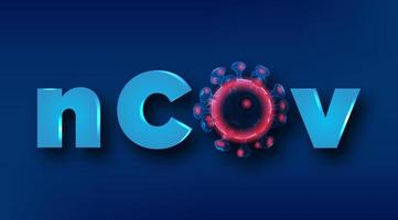 vírus de wireframe de coronavírus com texto ncov