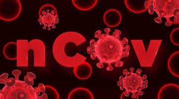 células vermelhas do vírus 2019-ncov wireframe