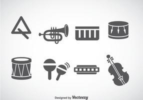 Instrumentos de música Vetor de ícones cinza