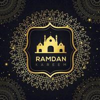 mandala dourada e mesquita ramadan design islâmico