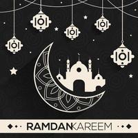 design do Ramadã com lua branca ornamentada e elementos