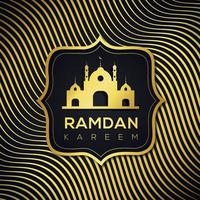 fundo de linha dourada ondulada islâmica do ramadã