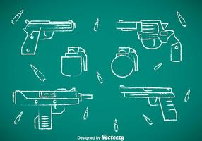 Coleção de armas coleção de giz desenhar ícones vetor