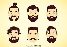 Conjuntos de vetores de cabelo masculinos