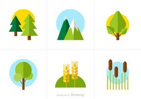 Ícones de vetor de natureza plana grátis