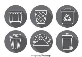 Conjuntos de vetores de ícones de sombra longa de lixo