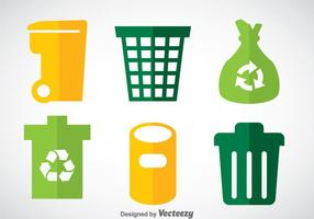 Conjuntos de vetores de ícones lisos de lixo