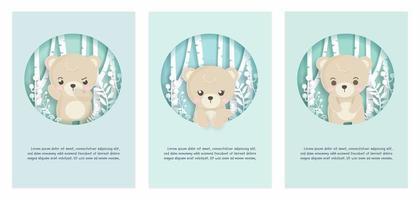 cartão definido com urso na cena da floresta vetor