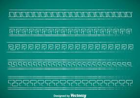 Conjuntos de vetores com bordas de giz com chave grega