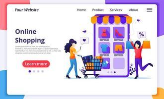 página de destino do conceito de compras online vetor