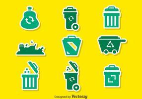 Ícones verdes do lixo vetor