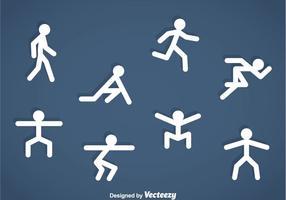 Pessoas Stickman Exercise Icons vetor