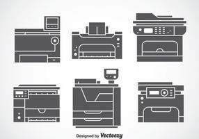 Conjuntos de vetores de ícones cinzentos da fotocopiadora