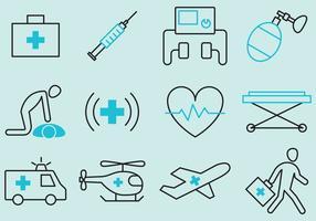 Ícones de vetores de emergência médica