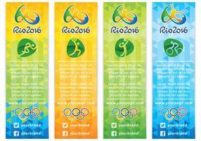Vetores de banner olímpicos verticais