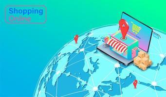 conceito on-line de compras globais vetor