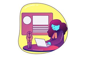 mulher trabalhando em casa vetor